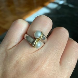 Lagos double Pearl Luna ring